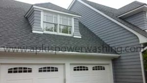 cleaned roof shingles - front of house