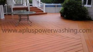 after cleaning wood deck
