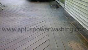 before cleaning wood deck