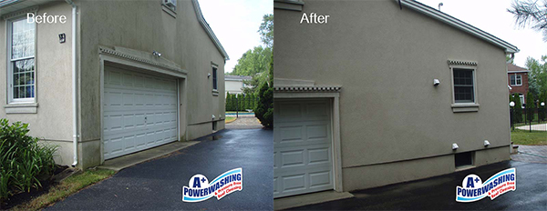 power washing stucco before & after